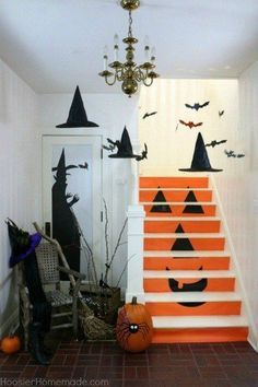 9 spots you forgot to decorate for fall, home decor, seasonal holiday decor, Your Staircases Halloween Stairs