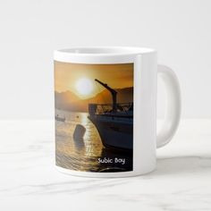 Subic Bay at Sunset with boat and Yacht Large Coffee Mug - diy cyo customize create your own personalize