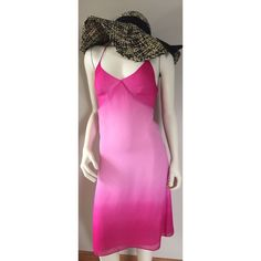 KENNETH COLE pink ombré silk halter dress 2 XS/S Lightweight sheer material with a light polyester liner. Stunning! Side zipper. The halter ties have some fading. No stains no tears. I hand washed this and hung it to dry and lightly ironed. It no longer fits me so if you love it send me a reasonable offer and it's yours ! Pit to pit across front 13 1/4 inches. Length underarm to bottom 31.5 inches. Hips across 17 inches. Kenneth Cole Dresses Midi