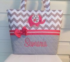 XL Quilted / Applique Gray Chevron / Zig Zag Diaper Bag - Design Your Own Chevron Diaper Bag - Personalized Diaper Bag on Etsy, $60.00