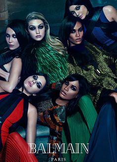 Balmain sister squad! Kendall and Kylie Jenner join Bella and Gigi Hadid, Joan and Erika Smalls | Balmain - Fall/Winter 2015 Ad Campaign