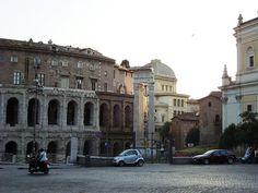 Theatre Marcellus & Sosian Temple of Apollo Columns, Rome - the Orsini family built a palace on top of the theatre in the Renaissance era