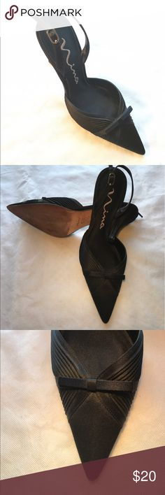 After 5 Satin Pumps Put on these elegant dancing shoes and dance the night away. Black satin with a flat bow. Nina Shoes Heels