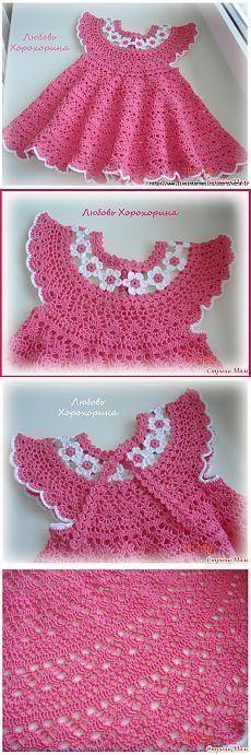 Ideas For Baby Dress Ideas Crochet Patterns Crochet Gloves Pattern, Knitted Gloves, Knit Crochet, Crochet Patterns, Crochet Ideas, Flower Crochet, Crochet Dress Girl, Baby Girl Crochet, Crochet Baby Clothes