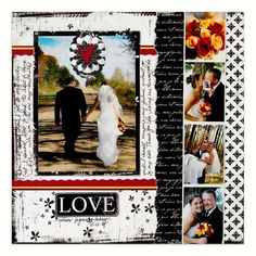 Love Wedding scrapbook page layout . . . Detailed Directions: http://projectcenter.creativememories.com/photos/bw_palette/page-22a---love-wedding-scrapbook-layout.html . . . . . . . . . . . . . . . . . #wedding #album #DIY