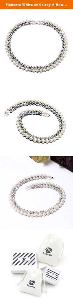 Habeats White and Grey 2-Row Beaded Pearls Collar Statement Necklace 20''. Habeats - stylish quality jewelry for young people Habeats provides a wide selection of fashion jewelry with both affordability and top quality. It carries latest women's jewelry, including studs, earrings, bracelets, bangles, necklaces, rings and sets, and men's jewelry, including bracelets and necklaces. Habeats focuses on sleek fair designs and best quality. All products come with a free habeats gift box or gift…