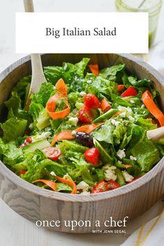 Big Italian Salad with Homemade Italian Dressing - Once Upon a Chef Italian Salad Recipes, Salad Recipes Video, Quinoa Salad Recipes, Italian Dishes, Rice Salad, Pasta Recipes, Vinaigrette, Mediterranean Salad Recipe, Homemade Italian Dressing
