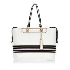 White stripe tote bag