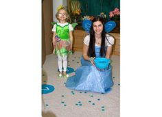 Tinkerbell Party Theme - Silvermist's Magical Bubble Burst Game (like cake walk, played music, when music stopped Silvermist pulled a waterbubble with a number on it, if the bubble you were standing on matched that number you were out and then received your prize)