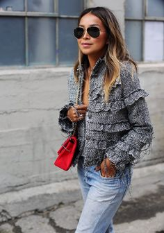 "Tweed & Fringe - STORETS 'Fringe a Lot' tweed jacket FREE PEOPLE 'Free falling shirttail"" v-neck tee LEVI'S 101 from REDONE CHANEL jersey 2.5 bag CHANEL flats Friday, October 23, 2015"