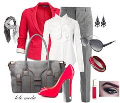Unique classic work outfit combines frenzy color jacket and white blouse and classic gray pants , accessorized with gray bag and frenzy high heel sandals