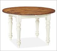 Keaton Round Fixed Dining Table - French White (Pottery Barn)