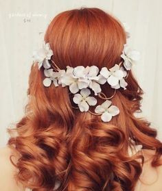 Long waves w/ white floral headpiece