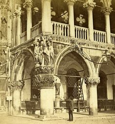 Man Ducal Palace Venice Italy Old Stereo Photo 1859
