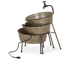 Glitzhome Farmhouse Galvanized Metal Bucket Fountain, at Big Lots. Metal Tub, Fountain Design, Water Spout, Tabletop Fountain, Galvanized Metal, Water Garden, Garden Path, Planter Boxes, Ten