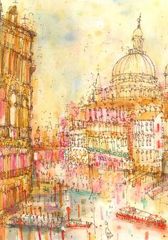 Gallery — Clare Caulfield - UK Artist and Printmaker New Year Illustration, Watercolor Illustration, Illustrations, Scenery Paintings, Landscape Paintings, A Level Art Sketchbook, City Sketch, Fantasy City, Building Art