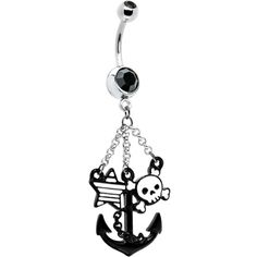 Black Gem Tattoo Inspired Skull Anchor Belly Ring $12.99 #piercing #bodycandy