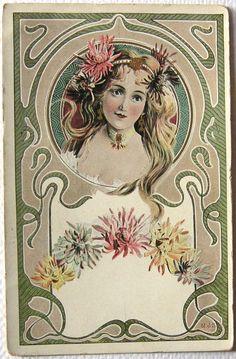 Art Nouveau woman with flowers postcard, ca. 1900s