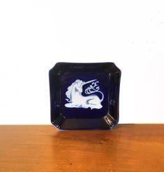 Takahashi Unicorn Blue White Square Tray Dish | Etsy California Location, Tailor Shop, Square Tray, Pink Depression Glass, Italian Art, Glass Art, Vintage Items, Whimsical, Dish