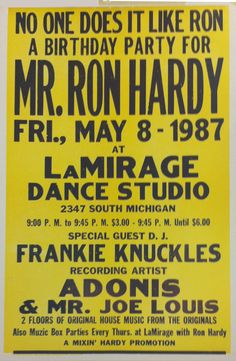 Ron Hardy, Adonis and Joe Lewis 1987 poster.