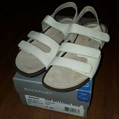New in the box Rockport White Sandals size 6M New in the box Rockport White Sandals size 6M.. velcro closure on each strap for easy adjustment and comfort fit Rockport Shoes Sandals