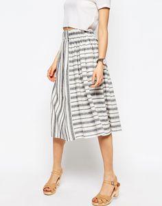 Image 4 ofASOS Full Midi Skirt in Linen Stripe