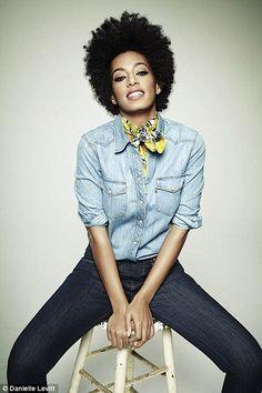 Jeans, chambray shirt, neckerchief.