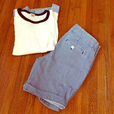 """Blue and White Striped J.Crew Denim Shorts J.Crew Andie shorts in like new condition. Waist measures 16.5"""", rise 9"""", and inseam/length 9"""" uncuffed. J. Crew Jeans"""