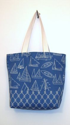 Large Beach Bag /Sea Blue on Etsy, $52.50