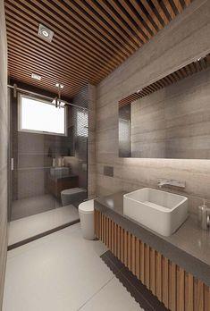 Porcelanato acetinado no piso Loft, Modern, Sink, Bathtub, Vanity, Restaurant, Architecture, House, Home Decor