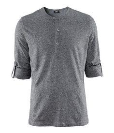 Button-tab long sleeve tee in heather gray