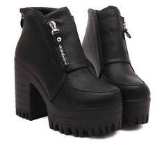 Vingtage 2014 Womens Punk Goth Chunky Heels Platform Ankle Boots Shoe Side Zip #new #FashionAnkle