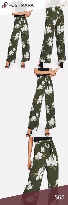 💐SPRING🆕Green floral high waist pants w/tie belt Measurements see chart above  🛍🛍Shop with confidence....I am a Poshmark ambassador, top rated seller, posh and sip host, and two time Poshmark party cohost. Bundle for best discounts. Check back often as new boutique items are added daily. Size not available? Leave a message and if it's available with my wholesale vendors I will order for you at no additional cost🛍🛍 Pants