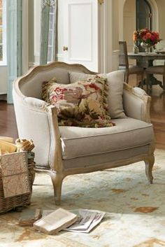 Adreanna Bergere Chair - Louis Xv Design Chair, French Style Linen Chair | Soft Surroundings