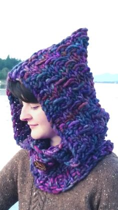 Amethyst Falls Hood Cowl Free Pattern - Made on a Zippy Loom!