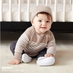 Wee Stripes Knit Pullover and Hat free pattern