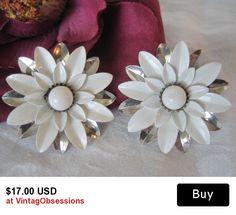 Sarah Coventry Earrings White  Enamel Flower
