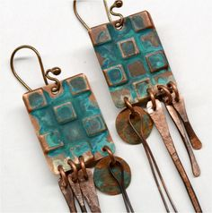 Embossed Rustic Copper Earrings with Patina - Tribal, Boho by SunStones on Etsy https://www.etsy.com/listing/247625641/embossed-rustic-copper-earrings-with