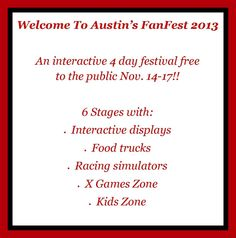 Austin's Fan Fest -- An Amazing Event packed with fun and adventure for the whole family in Downtown Austin. You've got to check this out! Photos of the Circuit of The Americas are courtesy of Bill Virun, Visually Attractive Photography. Thanks, Bill!