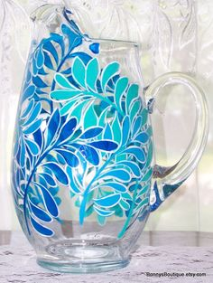 Fern water pitcher in blues and aqua by BonnysBoutique on Etsy