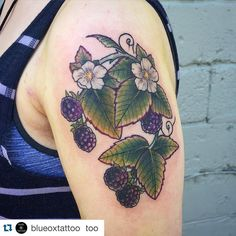 The curling vine bits aren't accurate, but otherwise very cool. Moth Tattoo Design, Tattoo Designs, Tattoo Ideas, Blackberry Tattoo, Rachel Gold, Ox Tattoo, Summer Vine, Fruit Tattoo, Vine Tattoos