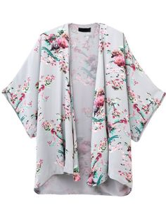 Blue Floral Birds Print Loose Kimono 20.83