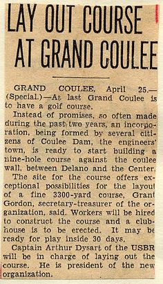 State history. Grand Coulee dam. Recreation & sports. Golf. 1935-04-25 Grand Coulee Dam, Mason City, Golf, History, Sports, Hs Sports, Historia, Sport, Turtleneck