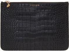 Alexander McQueen Black Croc Zip Pouch