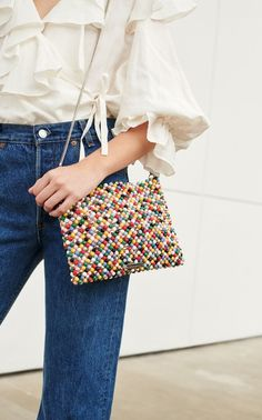 Mia Beaded Plastic Pouch by Loeffler Randall Beaded Purses, Beaded Bags, Plastic Pouch, Quirky Fashion, Neutral Outfit, Cute Winter Outfits, Pony Beads, Looks Style, Handmade Bags