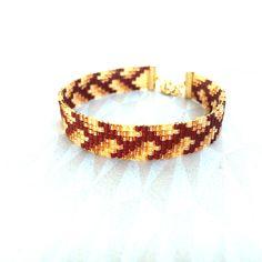 Manchette fine graphique argentée tissée Bijou'lie perles Miyuki Bronze, Chocolat et jaune Topaze : Bracelet par bijou-lie