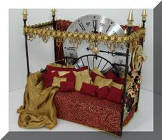 Steampunk Miniatures by Dr Thaddeus Robertson. The Amazing Solar Energized Time Preservation Napping Bed.
