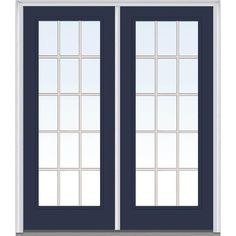 Milliken Millwork 60 in. x 80 in. Classic Clear Glass GBG Full Lite Painted Fiberglass Smooth Double Prehung Front Door, Naval