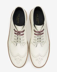 Brogue detail suede trainers - White | Shoes | Ted Baker