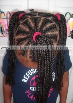 Beads, Braids and Beyond: 3 Cornrowed Ponytails / Soccer Hair Childrens Hairstyles, Lil Girl Hairstyles, Natural Hairstyles For Kids, Princess Hairstyles, My Hairstyle, Braided Hairstyles, Hairstyle Ideas, Little Girl Braids, Braids For Kids